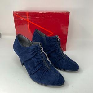 Aerosoles Memory Foam Suede Blue Bootie Shoe